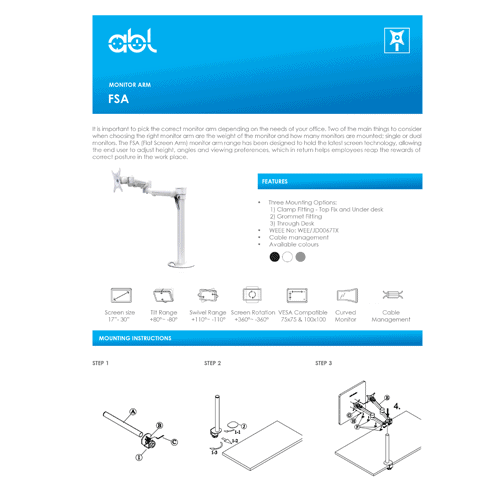 ABL FSA monitor Arm
